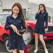 デニムワンピ マチャプチャレ フリル スカラップ デニム 韓国風 ファッション #707529
