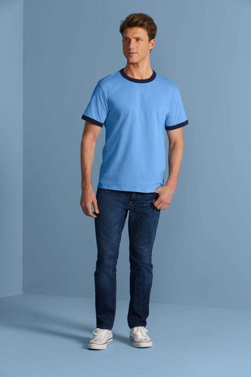 GILDAN ギルダン ジャパンフィット グレー 5.3オンス アダルト リンガー Tシャツ 7色 XS 2XL 6サイズ
