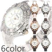 ラインストーン装飾ベゼルにセラミック風コンビベルト ピンクゴールド シルバー レディース腕時計 AV022