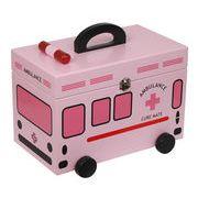 【木製車型救急箱】 定番人気の車型救急箱♪ (ピンク)