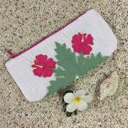 ハワイアンキルト ハイビスカス柄ペンケース ホワイト /Hawaiian Quilt 筆入れ 小物入れ ポーチ