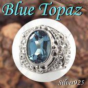 大きいサイズ / 11-0260 ◆ Silver925 シルバー  リング ブルートパーズ & グリーンサファイア  N-801