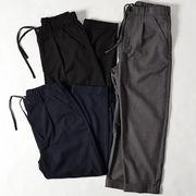 【2/22入荷】 メンズ T/R ワイド タックパンツ / アンクル丈 スーツ地 スラックス 裾ダブル ルーズ 春 夏