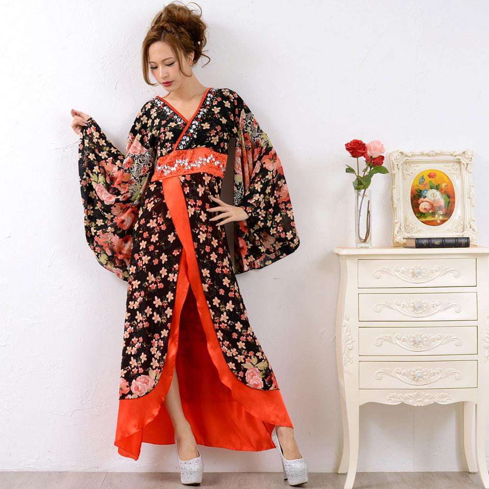 0673ゴージャスビジューロング着物ドレス 和柄 衣装 ダンス よさこい 花魁 コスプレ キャバドレス