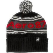 正規品 エアロポステール ニット帽子 Aero 87 Striped Pompom Hat (ブラック)