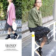 【春夏SALE】刺繍チュール2WAYミディ丈スカート/ロングスカート