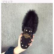 韓国風 ウインター リベット 鉄 バックル スクエアヘッド スエード ウサギ ピーズ靴