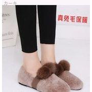 冬 裏起毛 暖かい フラット ウサギ 毛 靴 大きいサイズ レジャー 何でも似合う ファ
