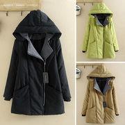 大きいサイズ フード付き中綿コート アウター ロングコート 防寒 シンプル 秋冬 2L/3L/4L/5L 11103
