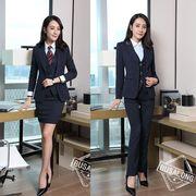 ★S~5L★大きいサイズ  OL通勤 通学 面接 ビジネス 制服  ストライプ柄 レディーススーツ