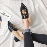 ヒント ふわふわシューズ 女 ローファー ウサギ ローヒールの靴 シングルスの靴 プラス