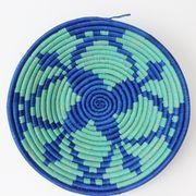 ウガンダバスケット 直径25cm ブルー/ライトブルー