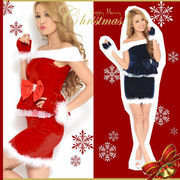 【クリスマス*上質】CUTE&SEXY!!ハンドウォーマー付き♪サンタクロース サンタドレス オフショルダー