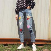 14020675 2018春夏新作カラフルハート柄刺繍付カジュアルデニムパンツ