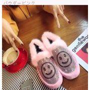 笑み 靴 ラインストーン ふわふわシューズ 厚底 ピーズ靴 女性ベルベット ウサギ 暖か