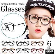 【現品限り】【眼鏡】全6色!メタルテンプルボストンフレームメガネ 伊達眼鏡 丸めがね[kgd0855]