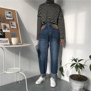 韓国風 ルース ブルー 水洗い クリンピング 女性のジーンズ 冬 新しいデザイン 何でも