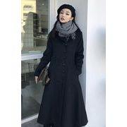 冬 新しいデザイン アンティーク調 韓国風 着やせ 着やせ 中長デザイン ラペル ダブル
