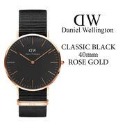 ダニエルウェリントン DANIEL WELLINGTON 腕時計 Classic Black 40mm ローズゴールド NATOベルト