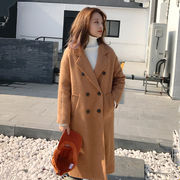 秋冬 新しいデザイン 韓国風 袖 口 レターズ 刺しゅう ダブルブレスト 中長デザイン