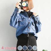 【OML】ボーイフレンドデニムシャツ+ボーダー柄ノースリーブインナー2点セット :全2色_OML7039