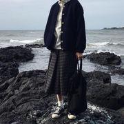 カーディガン 丸襟 子羊ウール アウターウェア 女 韓国風 冬 新しいデザイン ルース