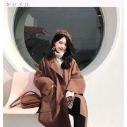 秋冬バージョン 韓国風 ルース 何でも似合う 気質 中長デザイン ラペル 大型ポケット