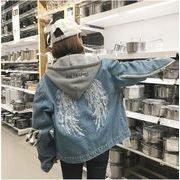 レディースアウター カーディガン デニムコート ジャケット 2WAY フード 取り外し 刺繍 人気