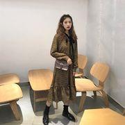 裏 小 秋冬 女性服 韓国風 若いもの ポルカドット シフォン 中長デザイン ワンピース