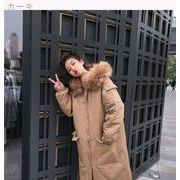 冬 新しいデザイン 韓国風 大 毛皮の襟 帽子付き ルース 何でも似合う ロングスタイル