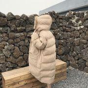 韓国風 大 毛皮の襟 パンコート 女 冬 ロングスタイル 太もも コットンコート アウタ