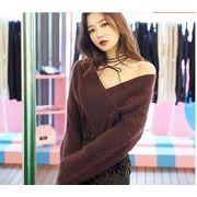 【秋冬新作】ファッションセーター♪ホワイト/モカ/ライトブラウン3色展開◆