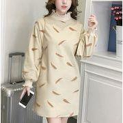 ラシャワンピース プリント ハイネック パフスリーブ ボリューム袖 韓国風 体型カバー 全2色 r3001702