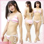 1238E■■送料無料■ ボーダービキニセット(しましま水着) 色:ピンク×白 サイズ:F(フリー)