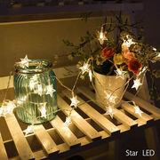 LED★おほしさまガーランド星 スター 乾電池式 (1.5m 3m 5m) (ホワイト、オフホワイト、レインボー)