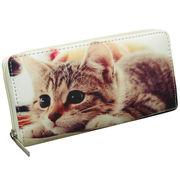 【かわいいネコちゃん】ピクチャープリント ラウンドファスナー長財布