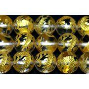【彫刻ビーズ】水晶 10mm (金彫り) 五爪龍