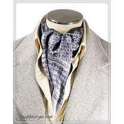 プリント柄袋縫いエレガントなメンズ用100%シルクスカーフ 1094d