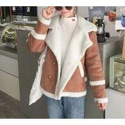 ジャケット 裏起毛 切替 ゆったり 無地 ボタン 韓国風 プレッピースタイル r3001894