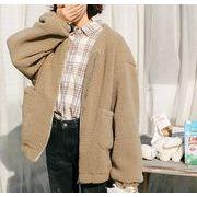 コート モコモコ 無地 韓国風 体型カバー 全2色 r3001918