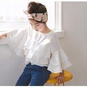 2018新作 Tシャツ 春秋 キッズブラウス 女の子 長袖 100-160cm 子供服 フレアスリーブ