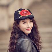 秋冬 帽子 ベレー帽 民族風 刺繍 ダック帽