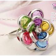 マルチカラー ラインストーン 花の指輪