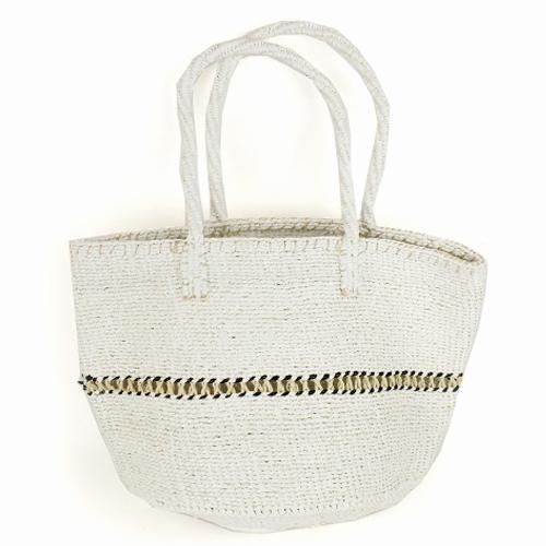 【SALE】プラスチックサイザルバッグ12インチ 透かし編み 白