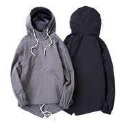 秋冬新作 メンズトップス 長袖パーカー シンプルデザイン大きいサイズ グレー/ブラック2色