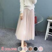 【OML】マカロンカラーハイウェストチュールフレアロングスカート:全5色_OML7111