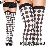 MusicLegs(ミュージックレッグ) モノトーンチェッカーサイハイストッキング/タイツ ML4094