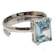 《大きめストーン:フリーサイズ ファッションリング指輪/ファランジリング》 ブルートパーズ(Blue Topaz)