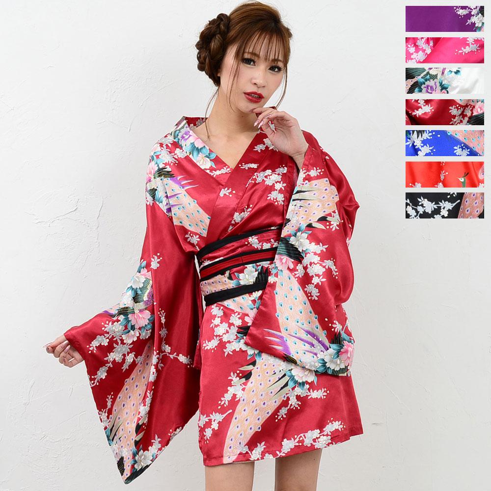 1037サテン和柄豪華花魁ミニ着物ドレス 和柄 よさこい 花魁 コスプレ キャバドレス