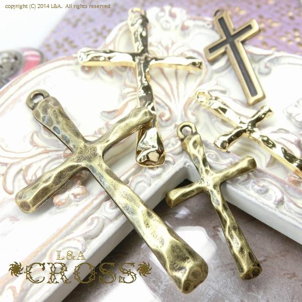 "▼SALE▼★L&A Original Parts★Gold&金古美★大きいクロスチャーム♪108 ""cross"""